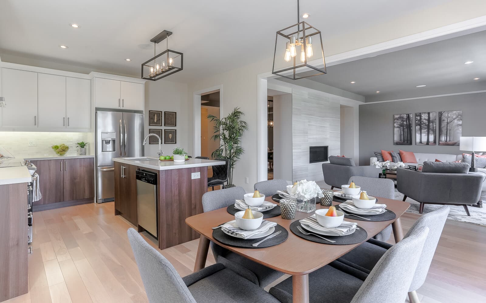 Kitchen, Living and Dining Room at Revelstoke Model Home | Revelstoke at Pinehurst in Paris | Paris, ON | Brookfield Residential
