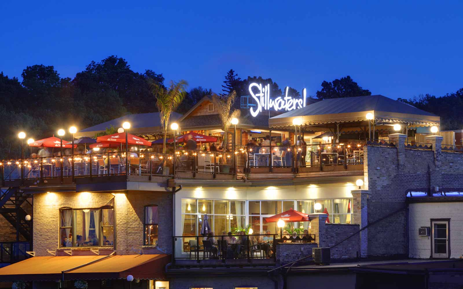 Stillwaters Restaurant Lit up at Night in Paris, ON