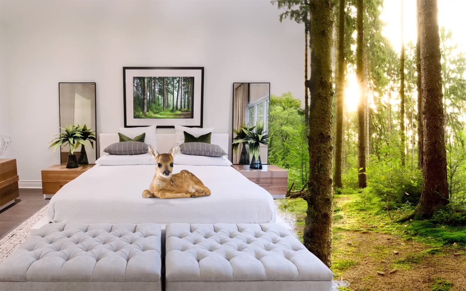 Bedroom Blending Into Forest With Deer on Bed | Pinehurst in Paris, ON | Brookfield Residential