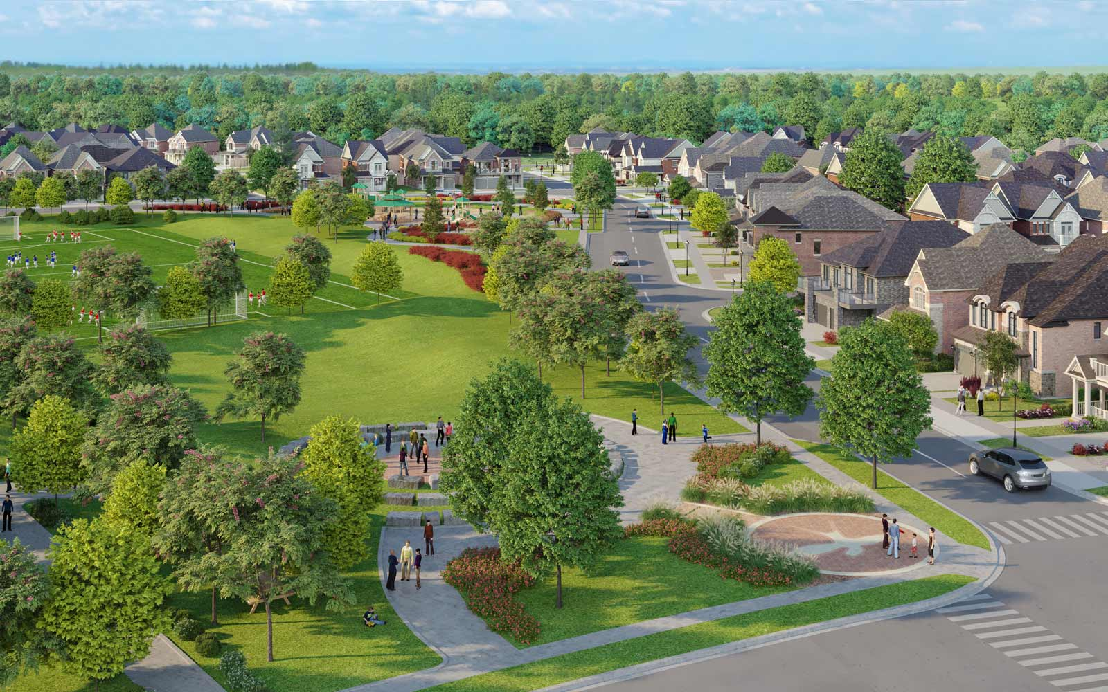Community Aerial Rendering at New Seaton in Pickering, ON