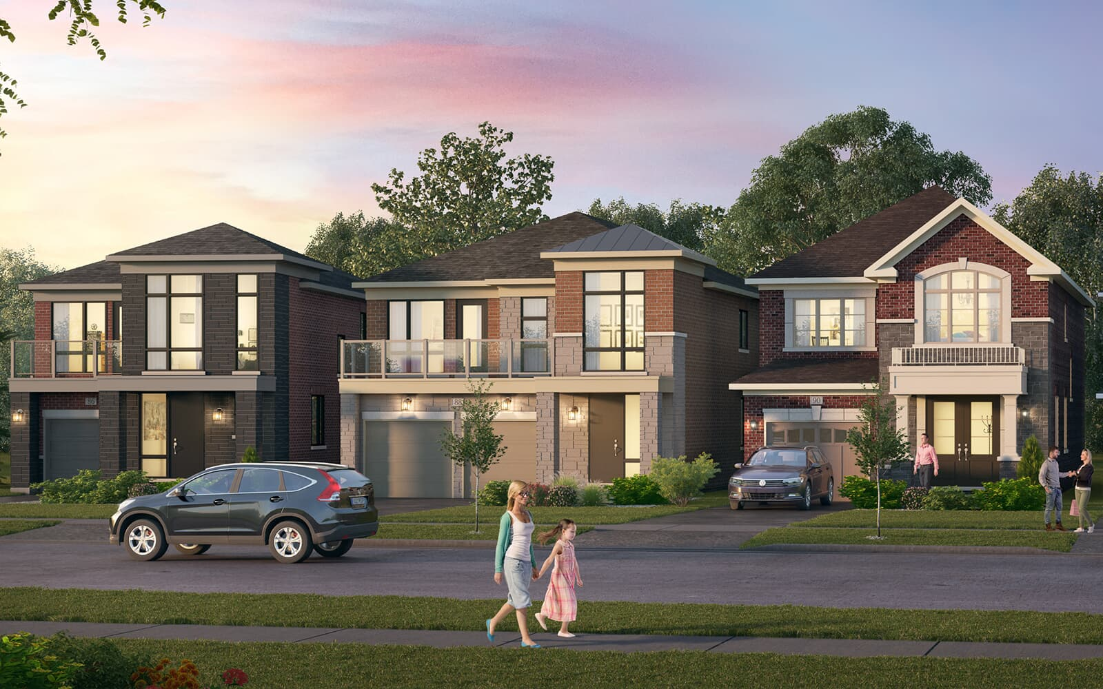 Streetscape Rendering at New Seaton in Pickering, ON