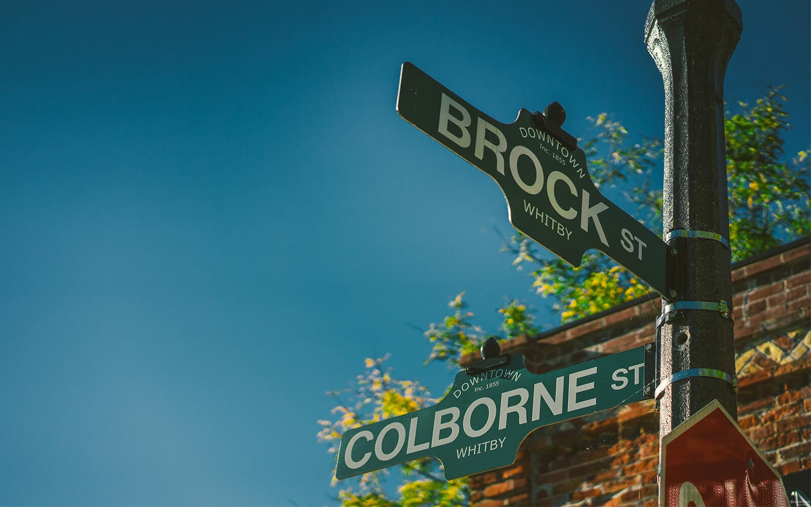 Brock and Colborne Street Signs in Downtown Whitby, ON