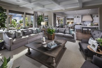 Living room to kitchen in luxury home | Crown Point at Stonebrae in Hayward, CA | Brookfield Residential