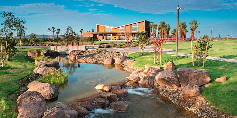 River outside of a building at Eastmark community in Mesa, AZ | Brookfield Residential