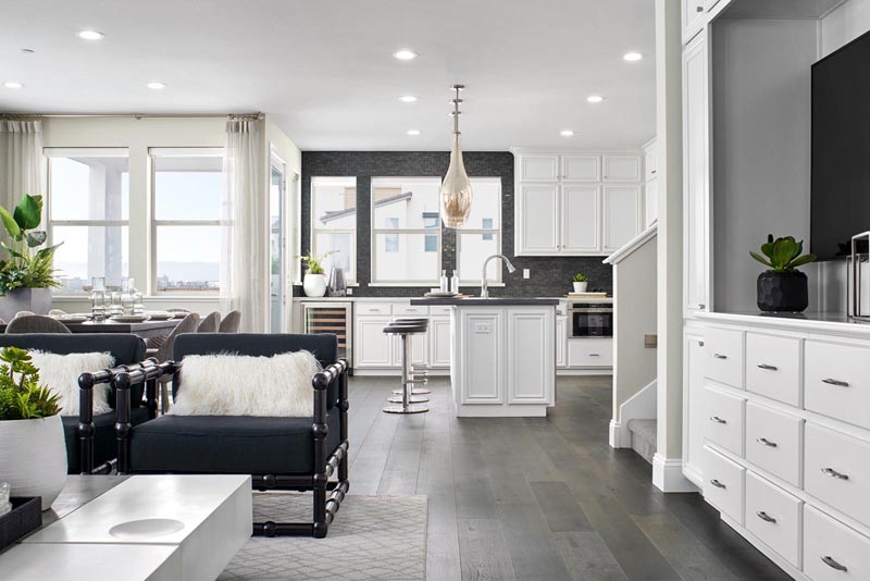 Residence 4 Living Room to Kitchen | Fillmore at Boulevard in Dublin, CA | Brookfield Residential