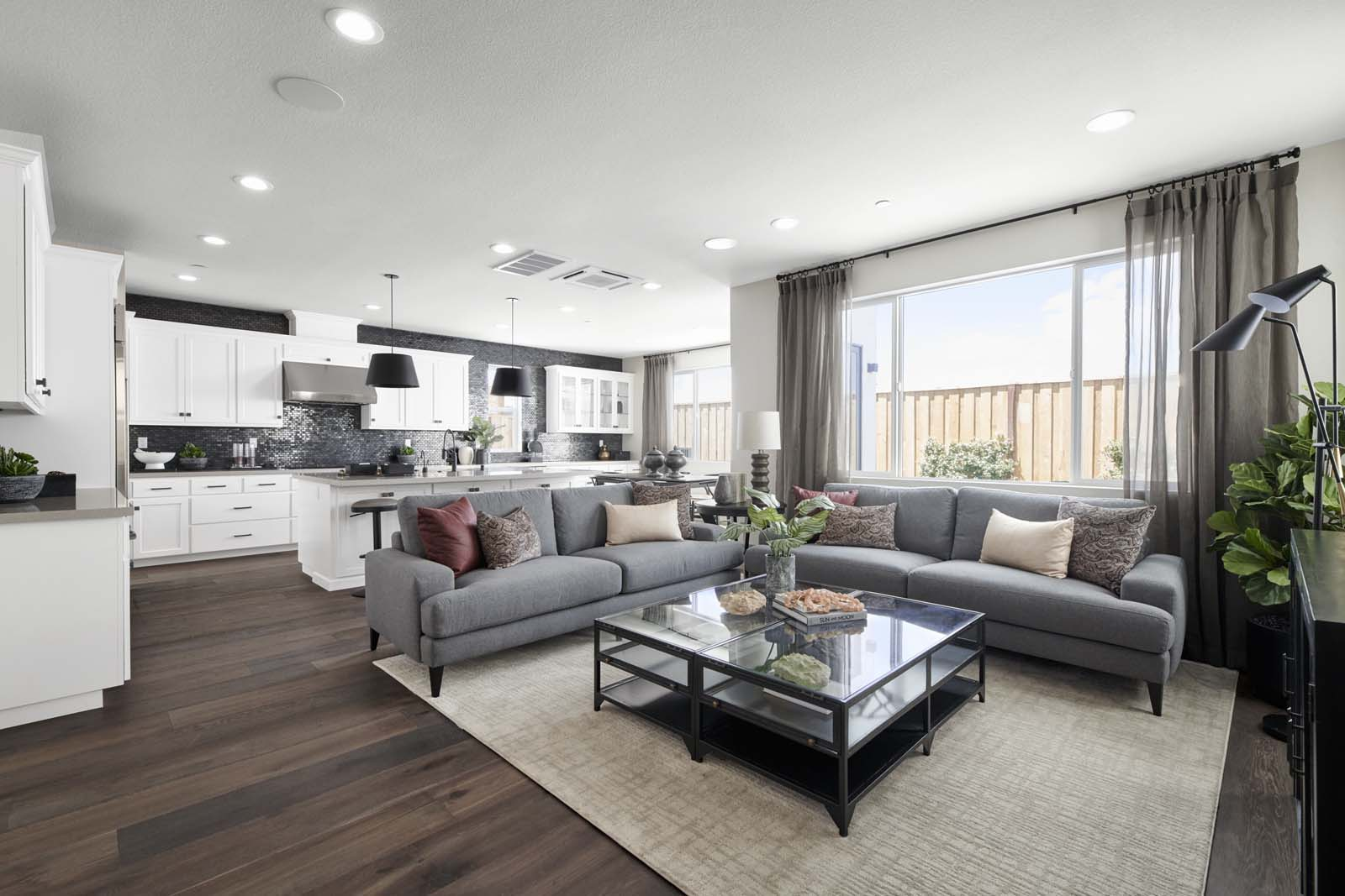 Residence 1 Great Room | Mulholland at Boulevard in Dublin, CA | Brookfield Residential