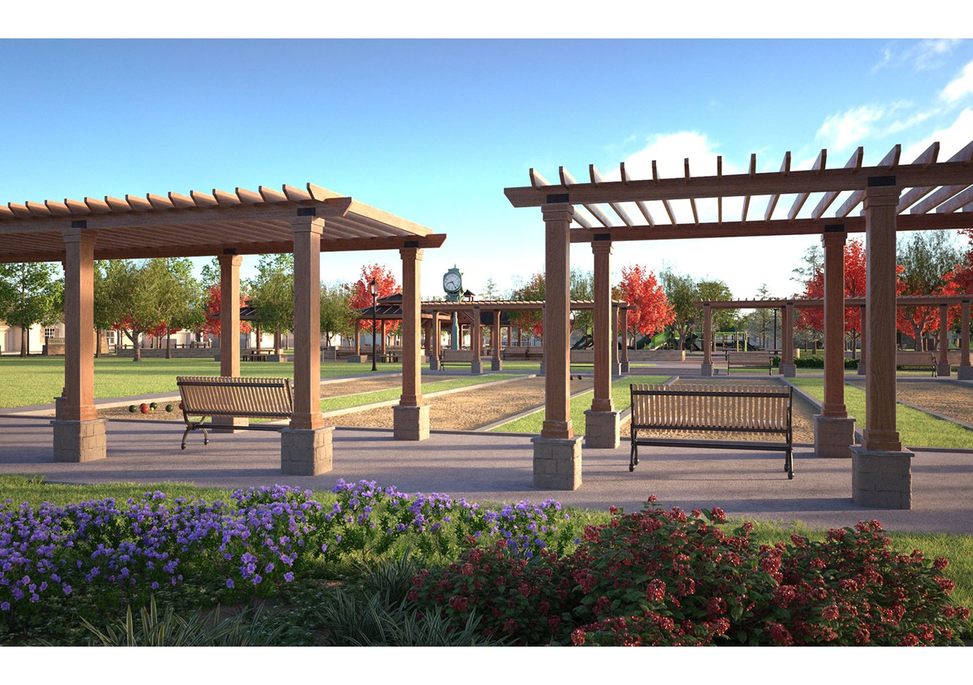 Rendering of the community park at the master-planned community of Delaney Park in Oakland, CA