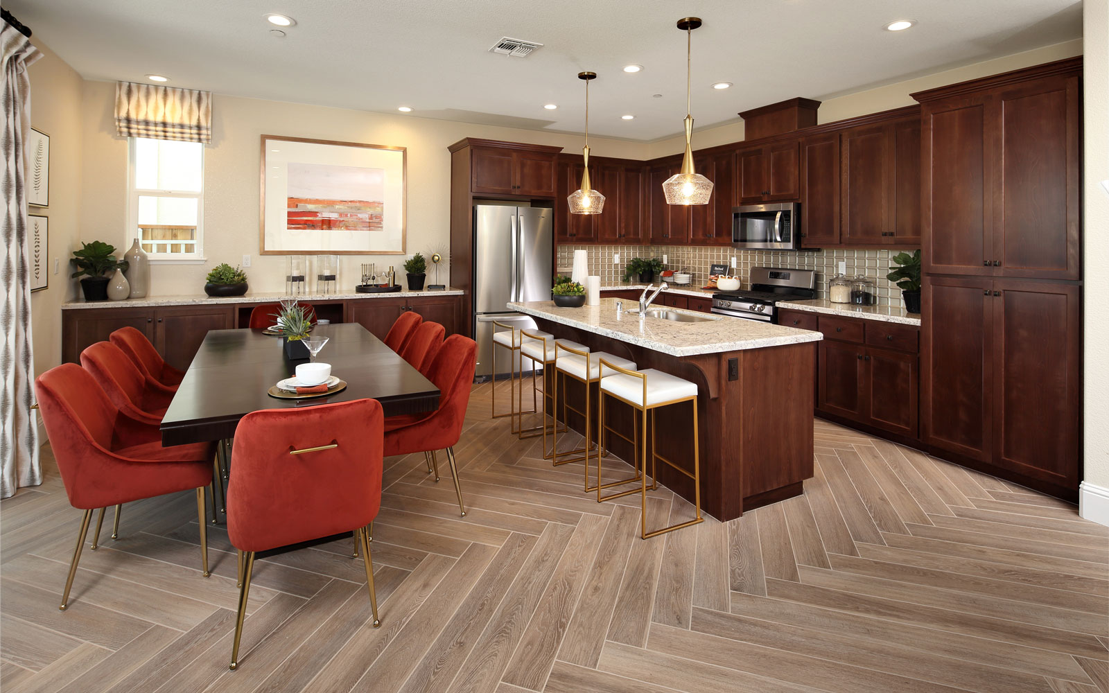 Dining and Kitchen Residence 1 Easton at Delaney Park in Oakley CA Brookfield Residential