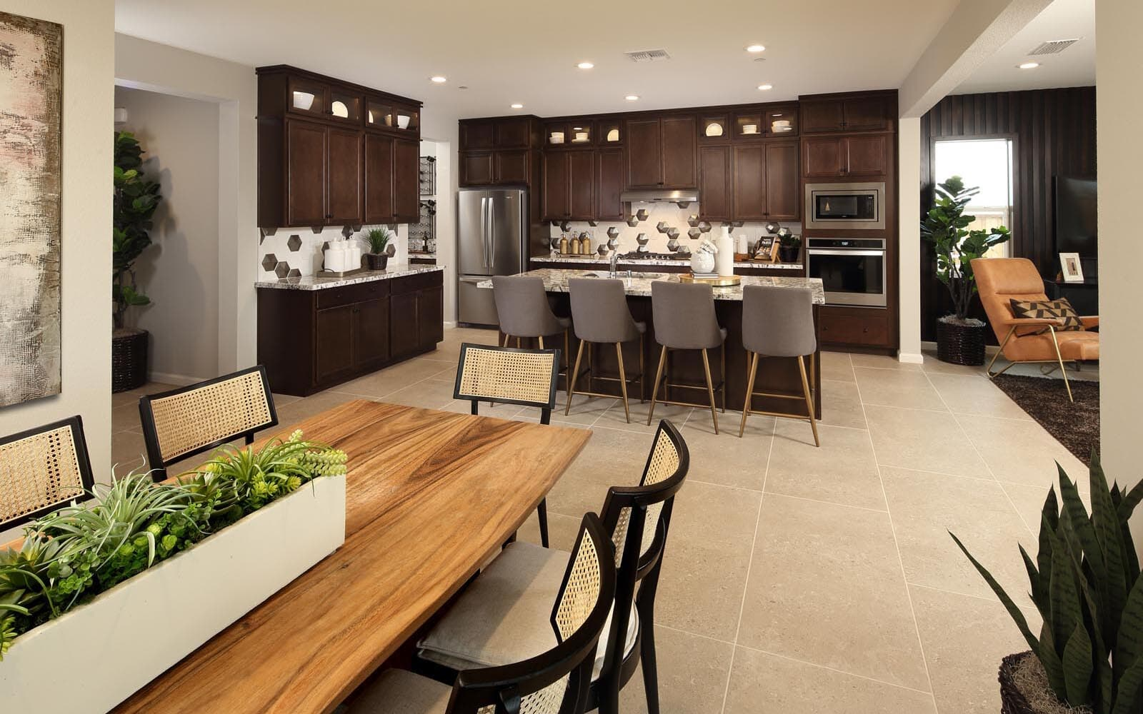 Dining Area to Kitchen Residence 5 Southport New Homes in Oakley CA Brookfield Residential