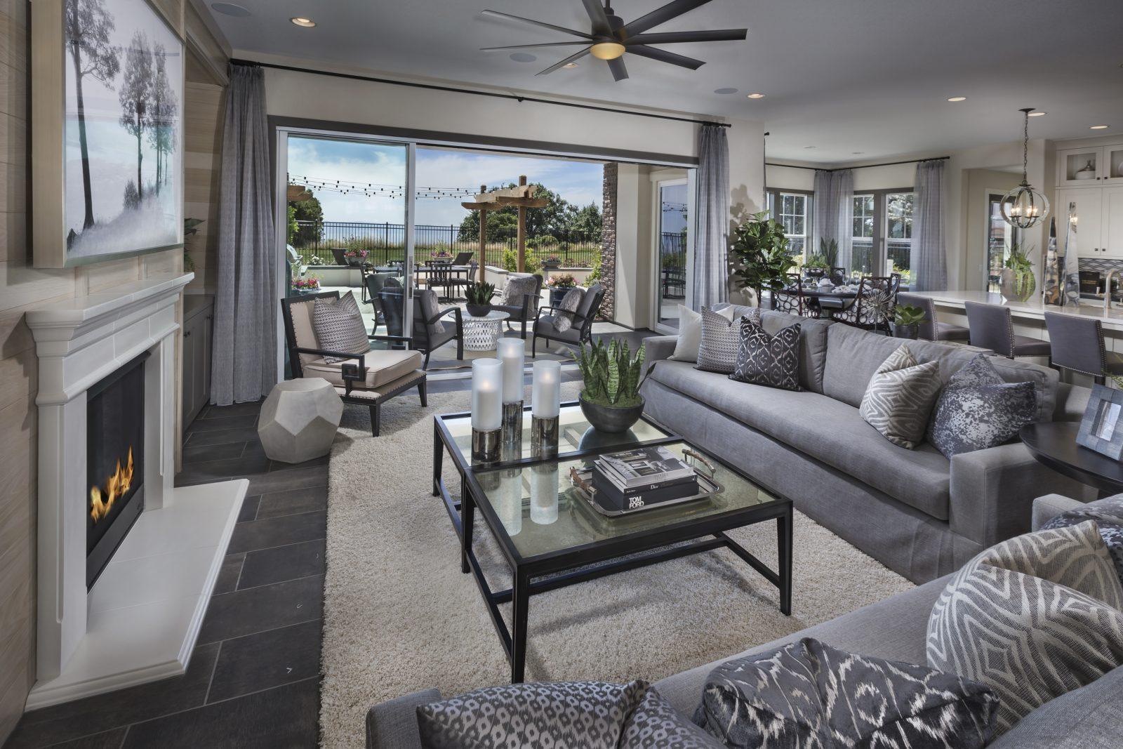 Living room to kitchen in new luxury home | Crown Point at Stonebrae in Hayward, CA | Brookfield Residential
