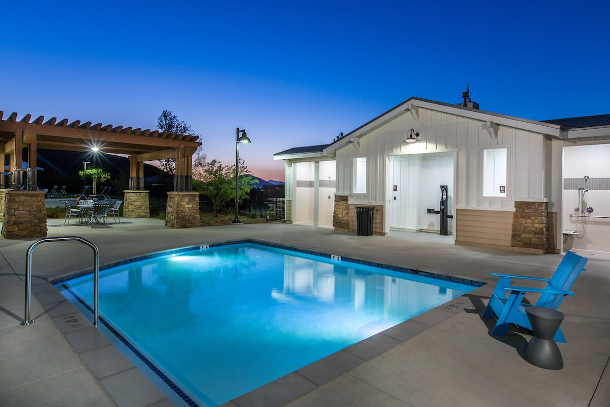 Spa at night in Audie Murphy Ranch in Menifee, CA | Brookfield Residential