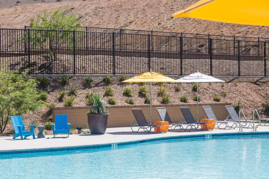 Pool umbrellas at Audie Murphy Ranch in Menifee, CA | Brookfield Residential
