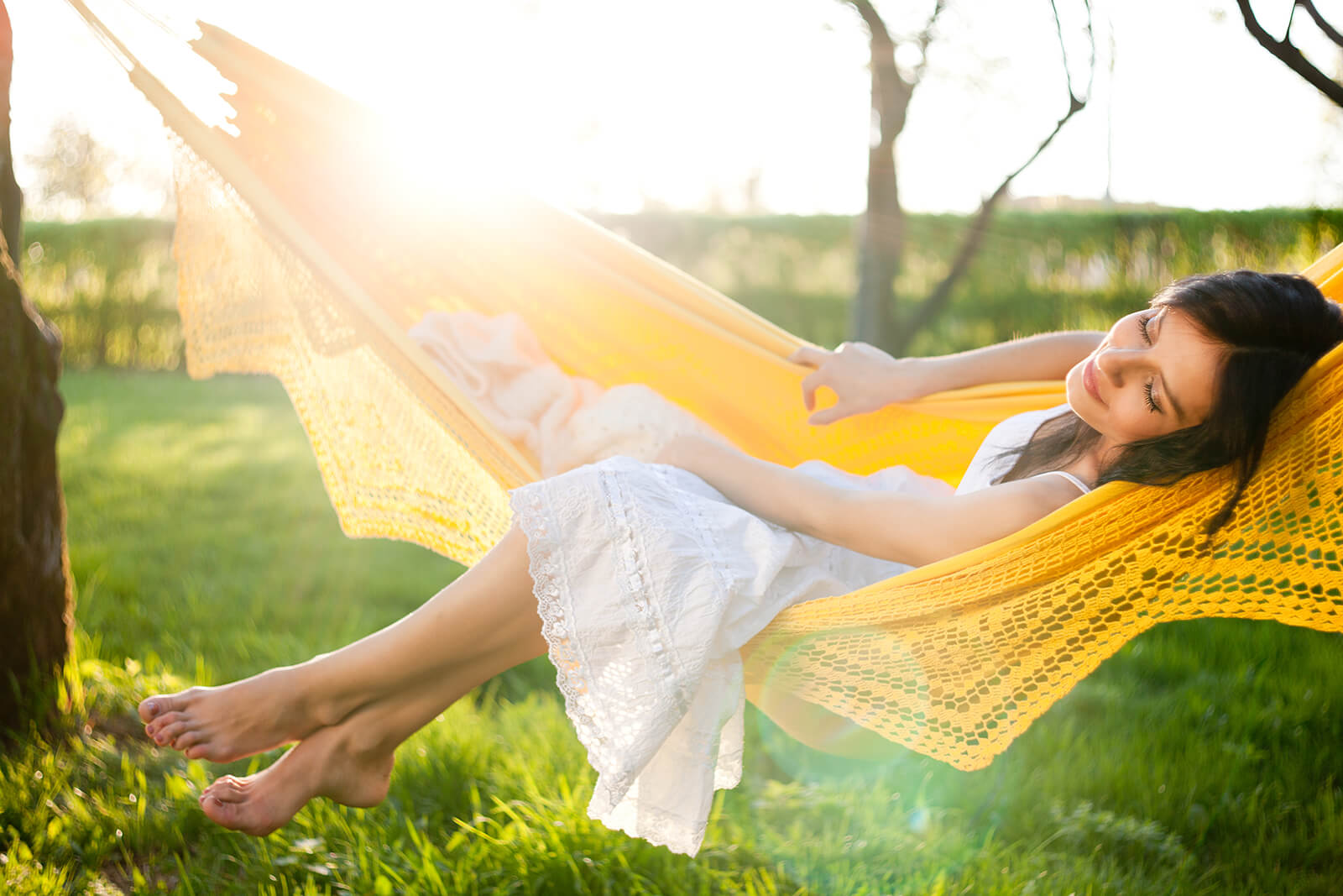 Girl Lounging in Yellow Hammock | Audie Murphy Ranch in Menifee, CA | Brookfield Residential