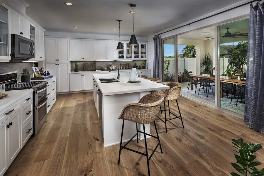 Plan 2 kitchen to patio | Savannah at Audie Murphy Ranch in Menifee, CA | Brookfield Residential