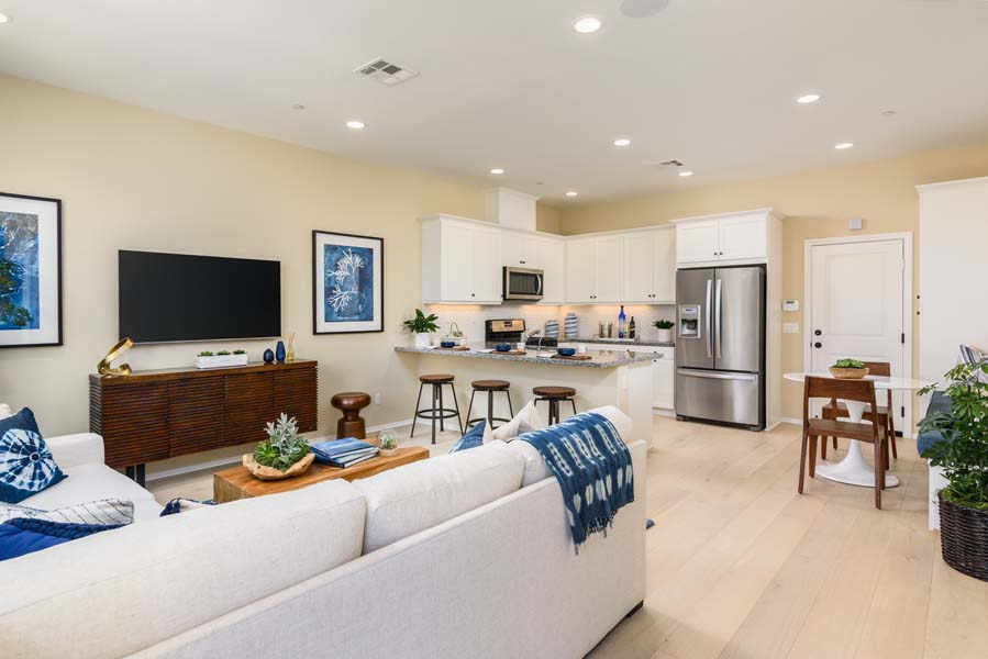 Great Room to Kitchen Residence 1 | Flora at the Village of Escaya in Chula Vista, CA | Brookfield Residential