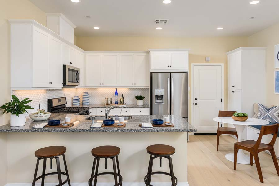 Kitchen and Dining Residence 1 | Flora at the Village of Escaya in Chula Vista, CA | Brookfield Residential