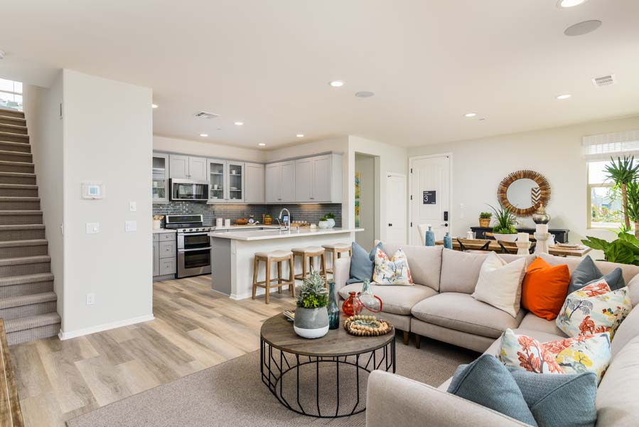 Great Room to Kitchen Residence 3 | Flora at the Village of Escaya in Chula Vista, CA | Brookfield Residential