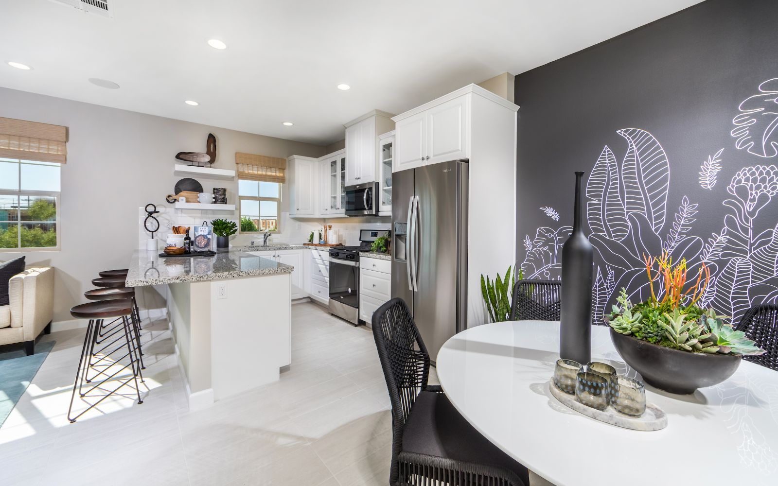 Gardens Plan 1 Kitchen and Dining| Lantana @Beach in Stanton, CA | Brookfield Residential