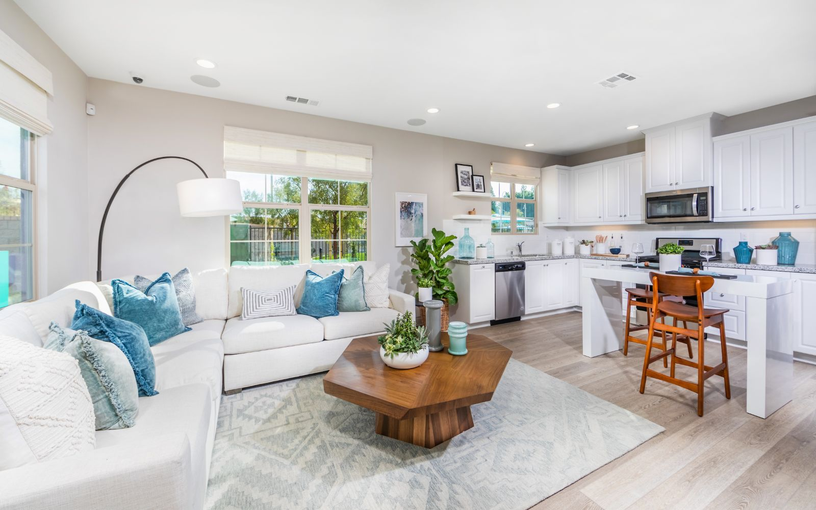 Towns Plan 1 Kitchen and Living Room | Lantana @Beach in Stanton, CA | Brookfield Residential