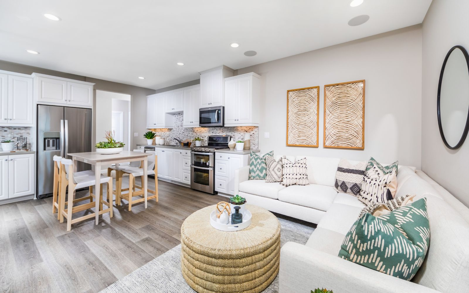 Towns Plan 2 Kitchen and Living Room | Lantana @Beach in Stanton, CA | Brookfield Residential