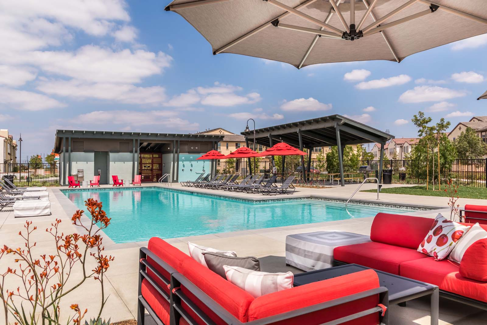 Couches and pool at Cherry Park | New Haven in Ontario Ranch, CA | Brookfield Residential