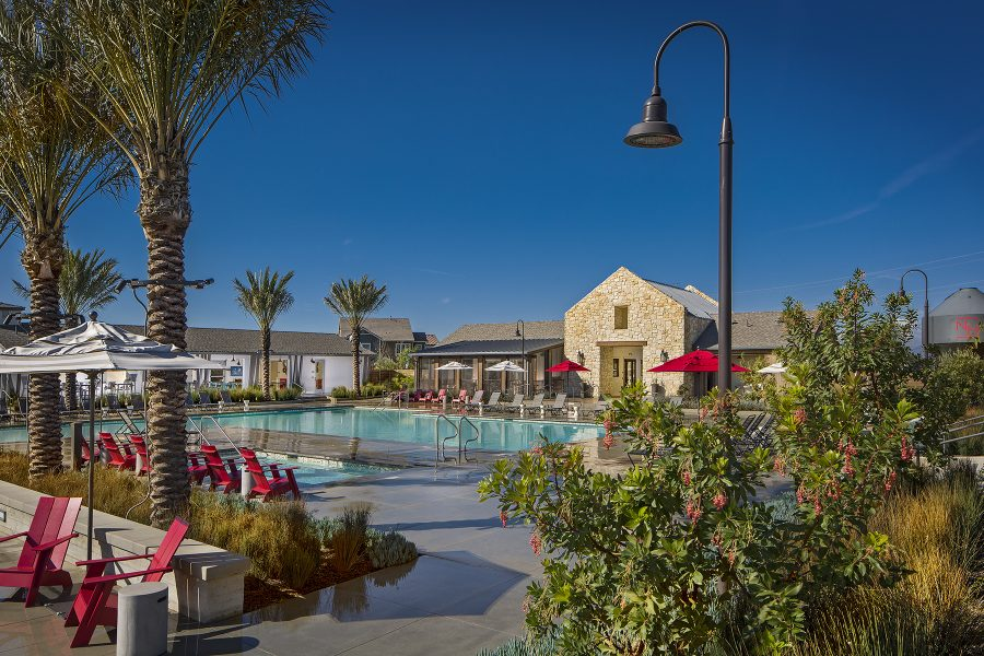 Daylight pool at the Rec Center at New Haven in Ontario Ranch, CA | Brookfield Residential