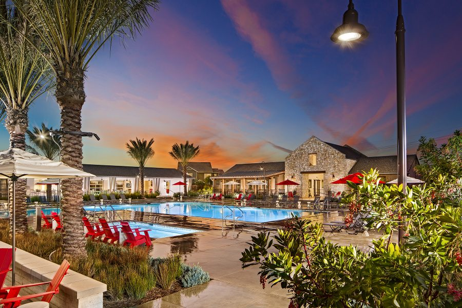 Dusk pool at the Rec Center at New Haven in Ontario Ranch, CA | Brookfield Residential