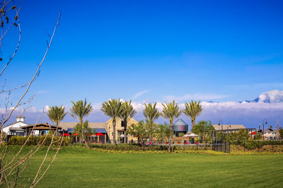 Park view of the Rec Center at New Haven in Ontario Ranch, CA | Brookfield Residential