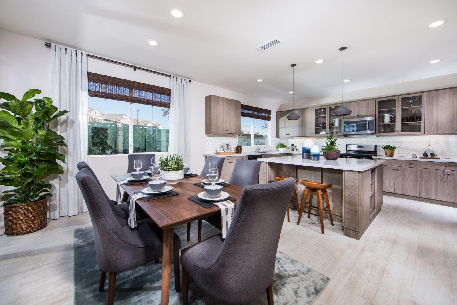 Dining Room and Kitchen | Poppy at New Haven in Ontario Ranch, CA | Brookfield Residential