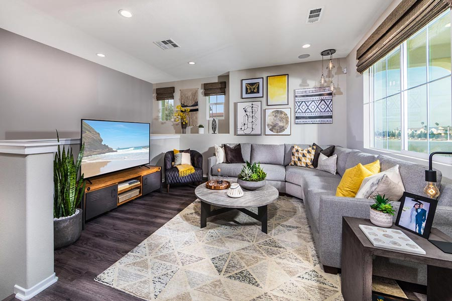 Plan 1 Great Room | Solstice at New Haven in Ontario Ranch, CA | Brookfield Residential
