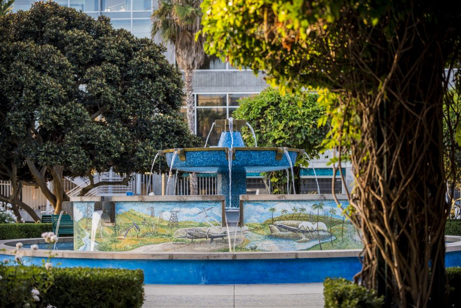 Fountain in a park at Playa Vista in Los Angeles CA Brookfield Residential