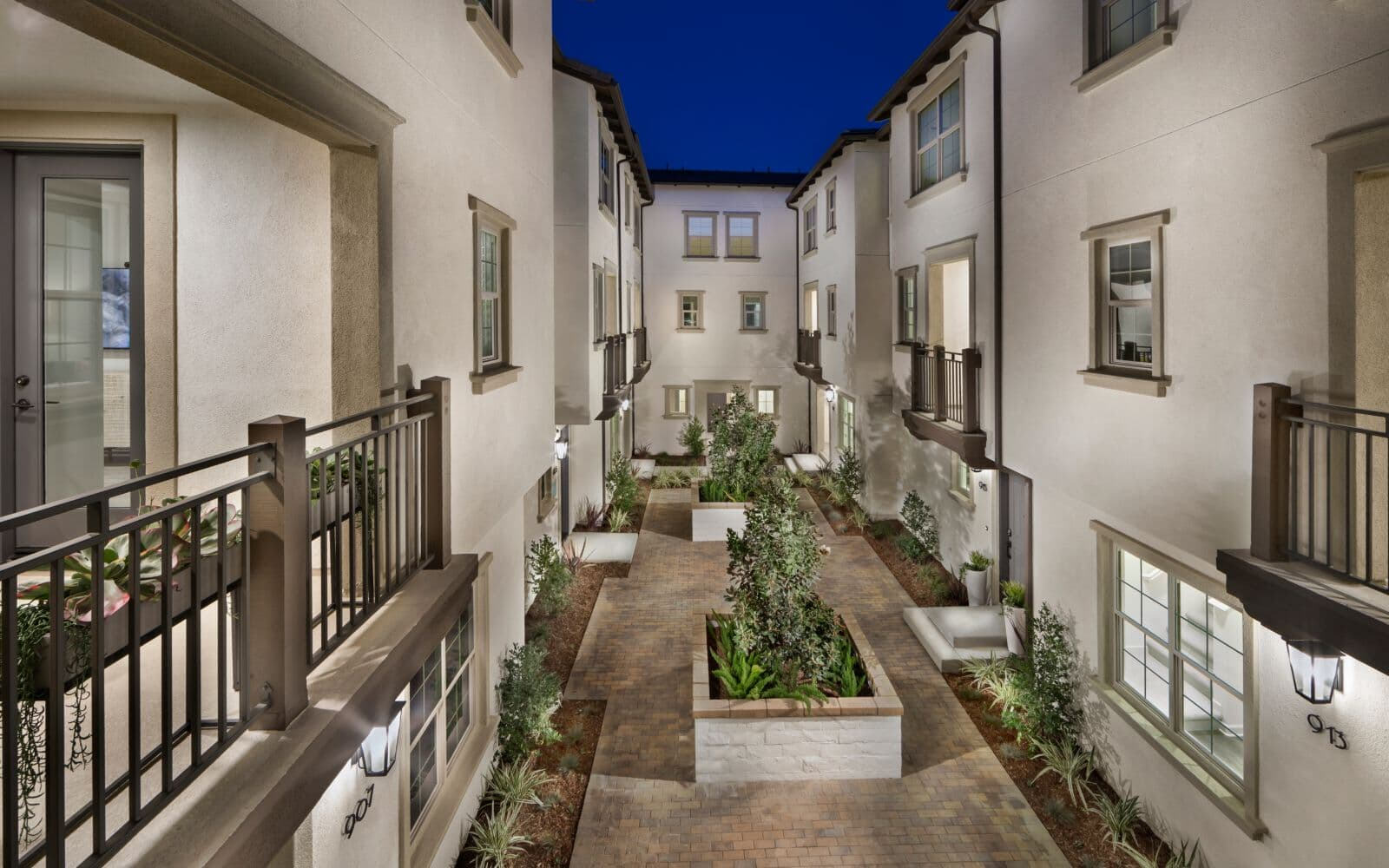 Exterior atrium of townhomes at Latitude at Rancho Tesoro in San Marcos CA