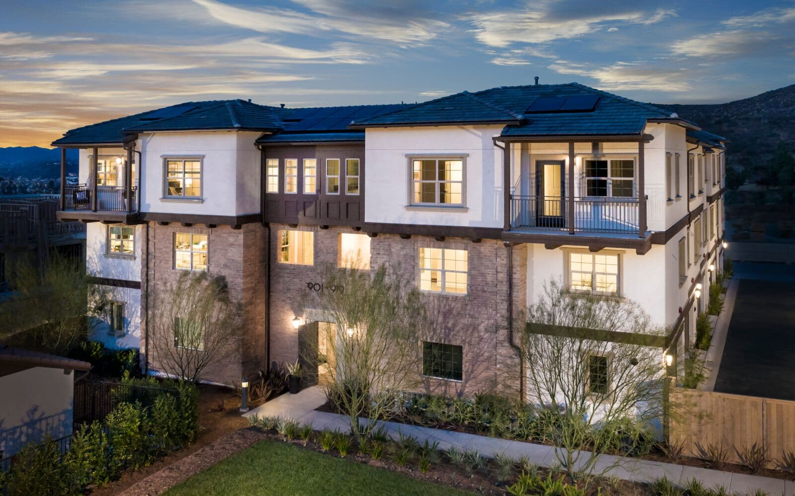 Exterior of townhome building for Latitude at Rancho Tesoro in San Marcos CA