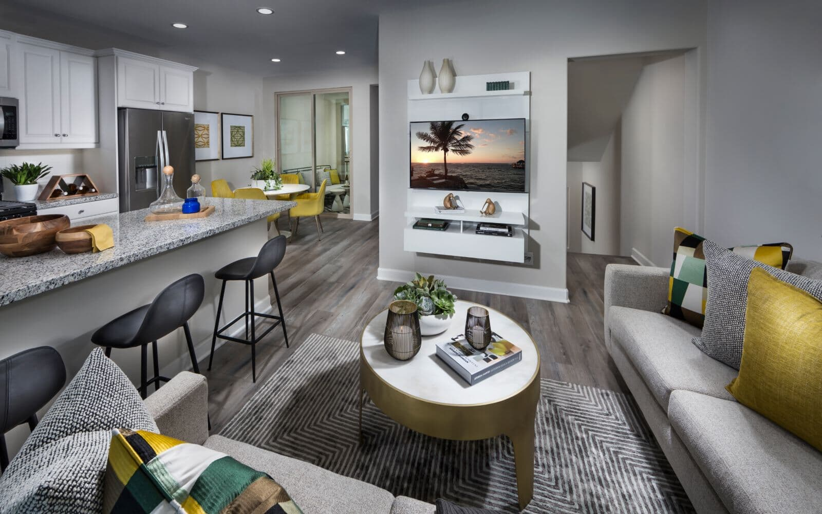 Gray Living Room in Residence 1 at Latitude at Rancho Tesoro in San Marcos CA