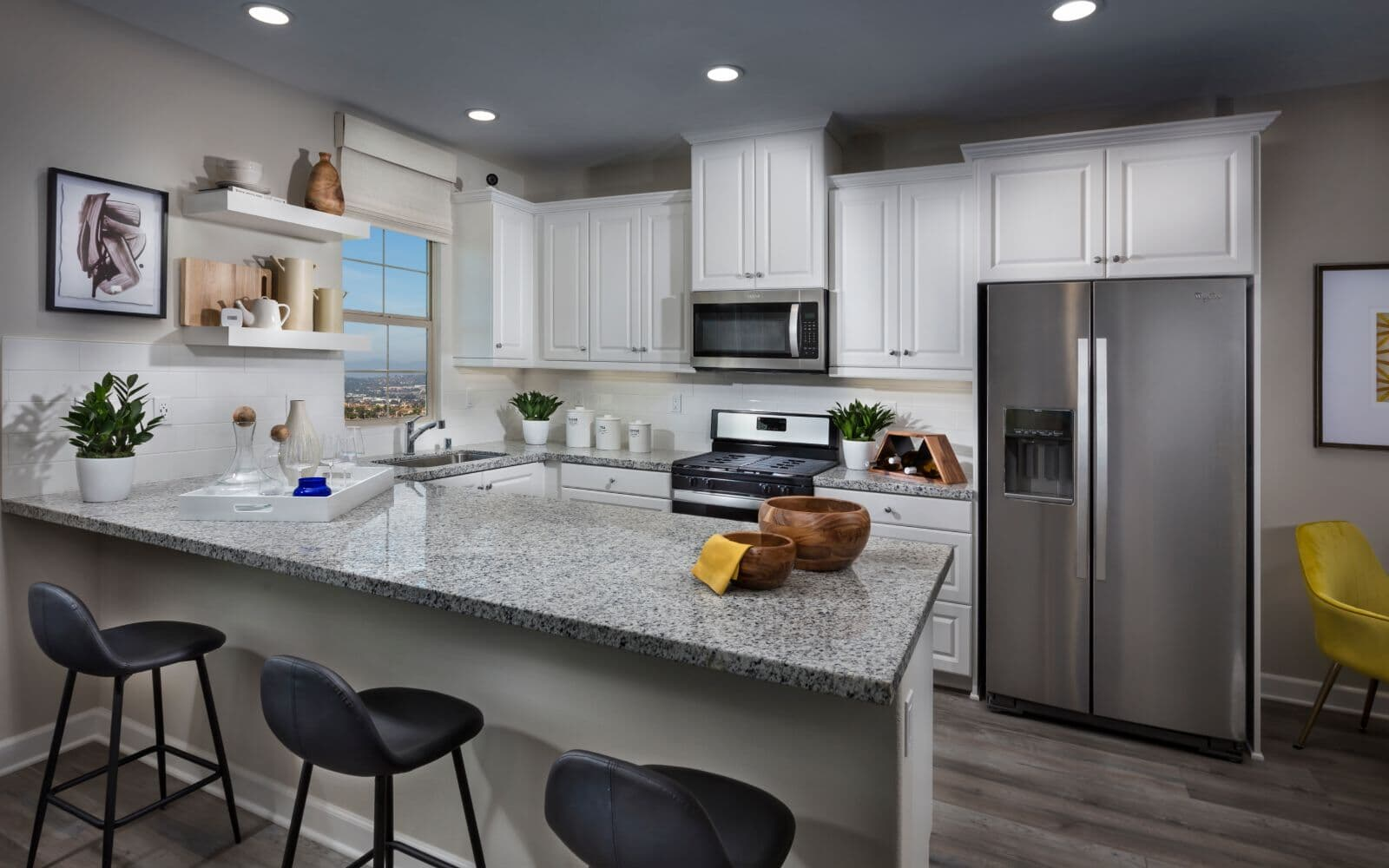 White Modern Kitchen in Residence 1 at Latitude at Rancho Tesoro in San Marcos CA