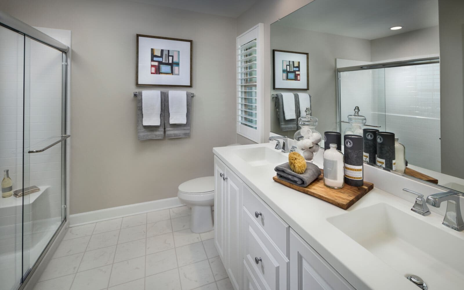 White Master Bath in Residence 1 at Latitude at Rancho Tesoro in San Marcos CA