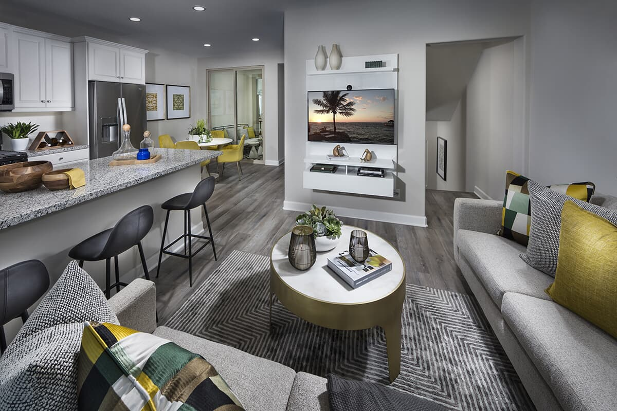 Residence 1 living room to dining area | Latitude at Rancho Tesoro in San Marcos, CA | Brookfield Residential