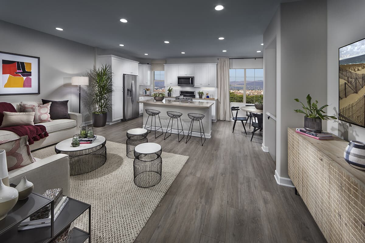 Residence 2 living room to kitchen | Latitude at Rancho Tesoro in San Marcos, CA | Brookfield Residential