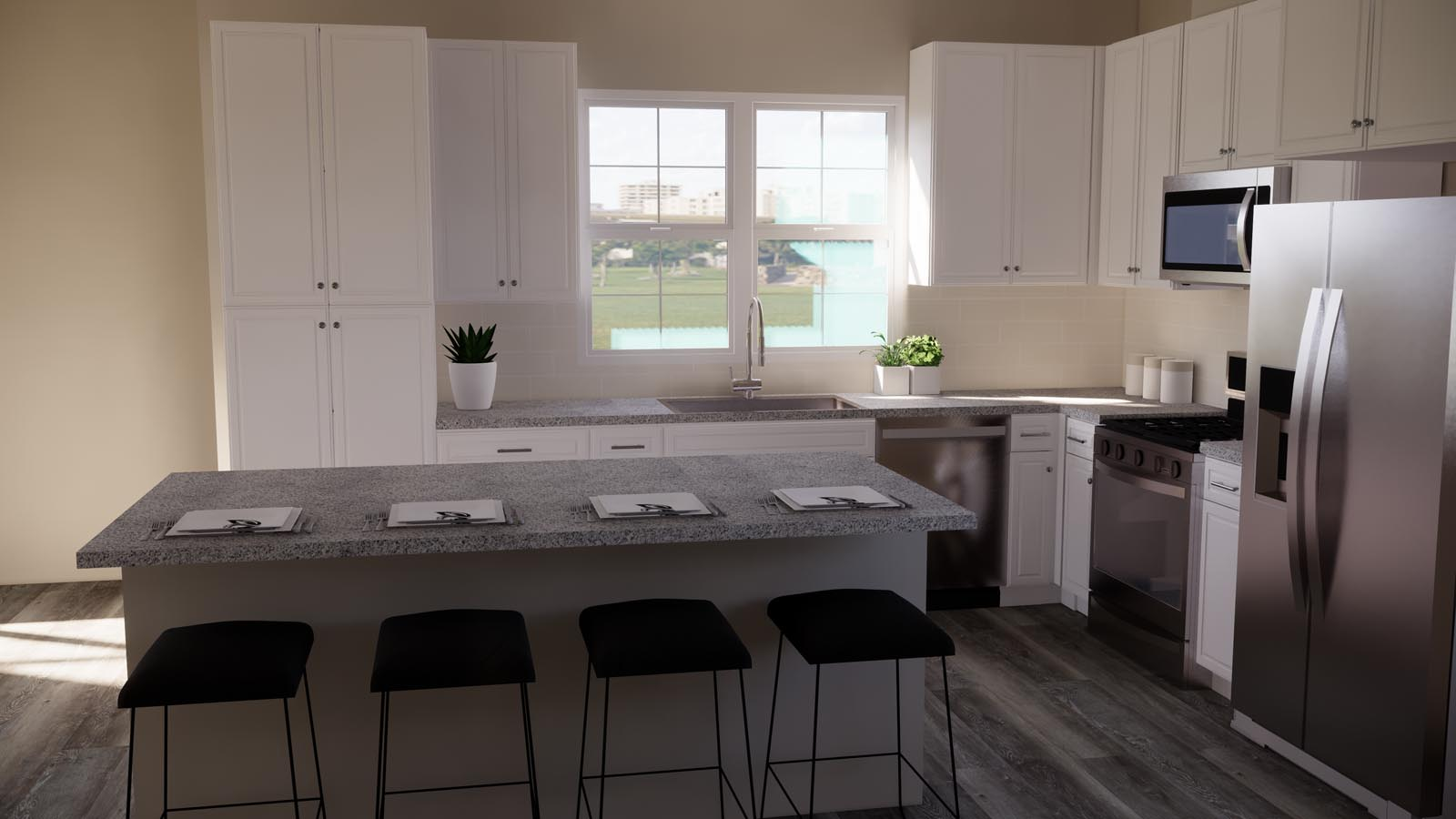 Choice grey kitchen rendering residence 3 | Latitude at Rancho Tesoro in San Marcos, CA | Brookfield Residential