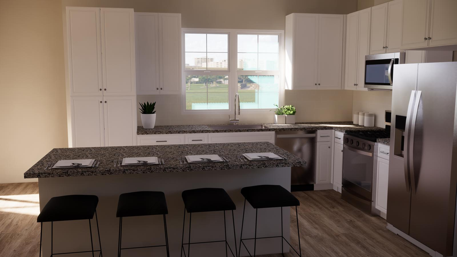 Choice taupe kitchen rendering residence 3 | Latitude at Rancho Tesoro in San Marcos, CA | Brookfield Residential