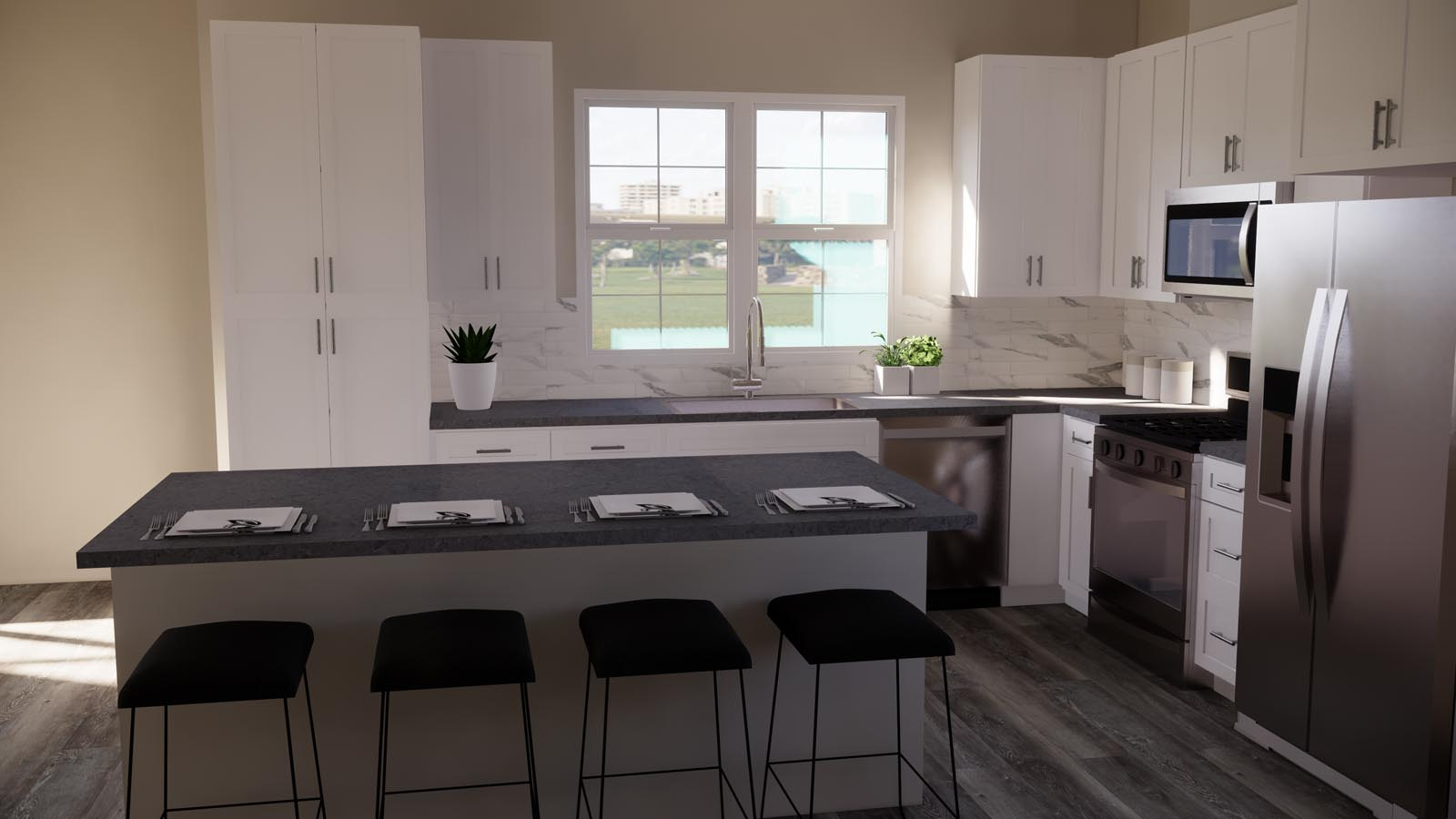 Modern grey kitchen rendering residence 3 | Latitude at Rancho Tesoro in San Marcos, CA | Brookfield Residential