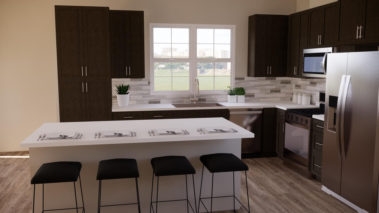 Modern taupe kitchen rendering residence 3 | Latitude at Rancho Tesoro in San Marcos, CA | Brookfield Residential