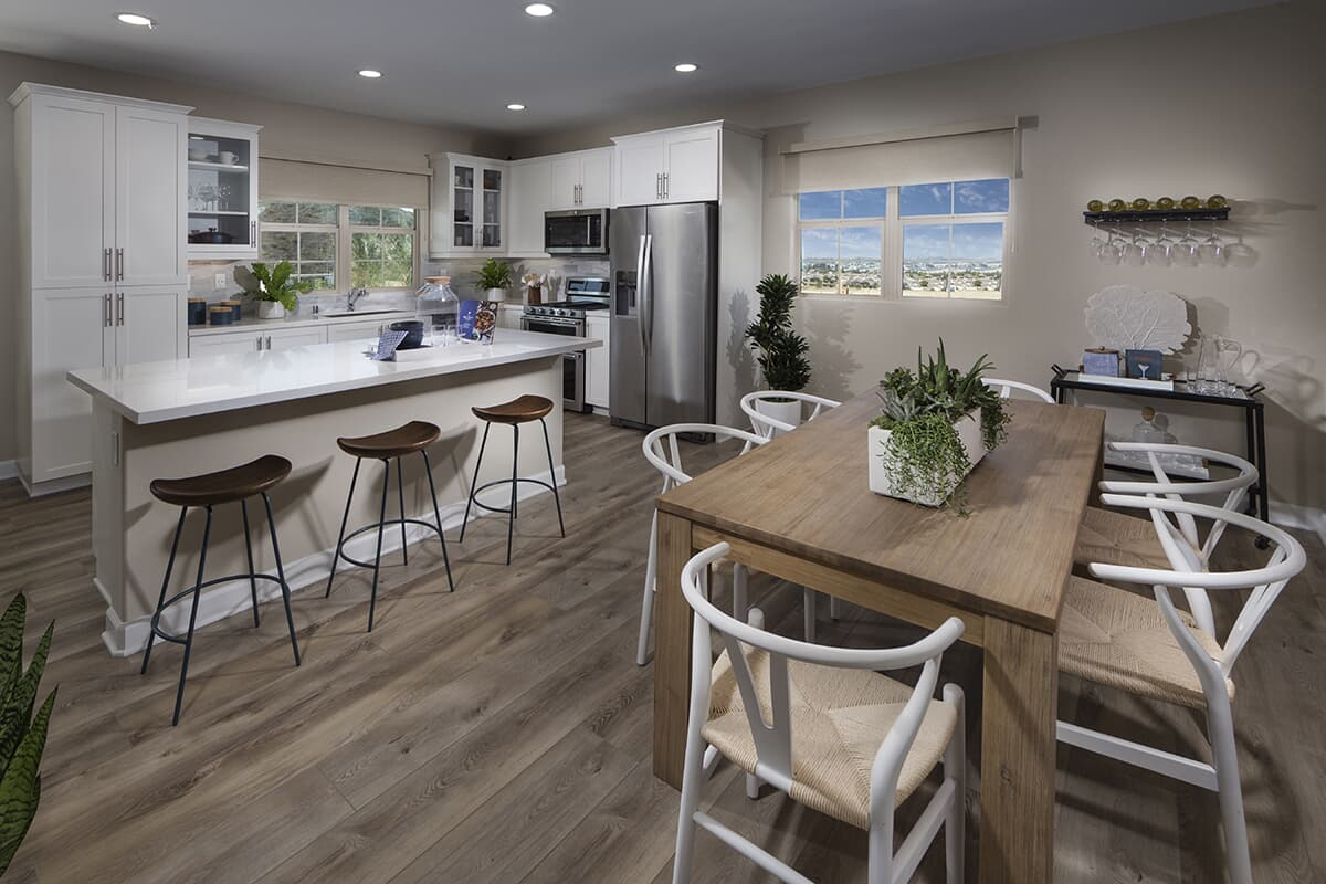 Residence 3 dining area to kitchen Latitude at Rancho Tesoro in San Marcos CA Brookfield Residential