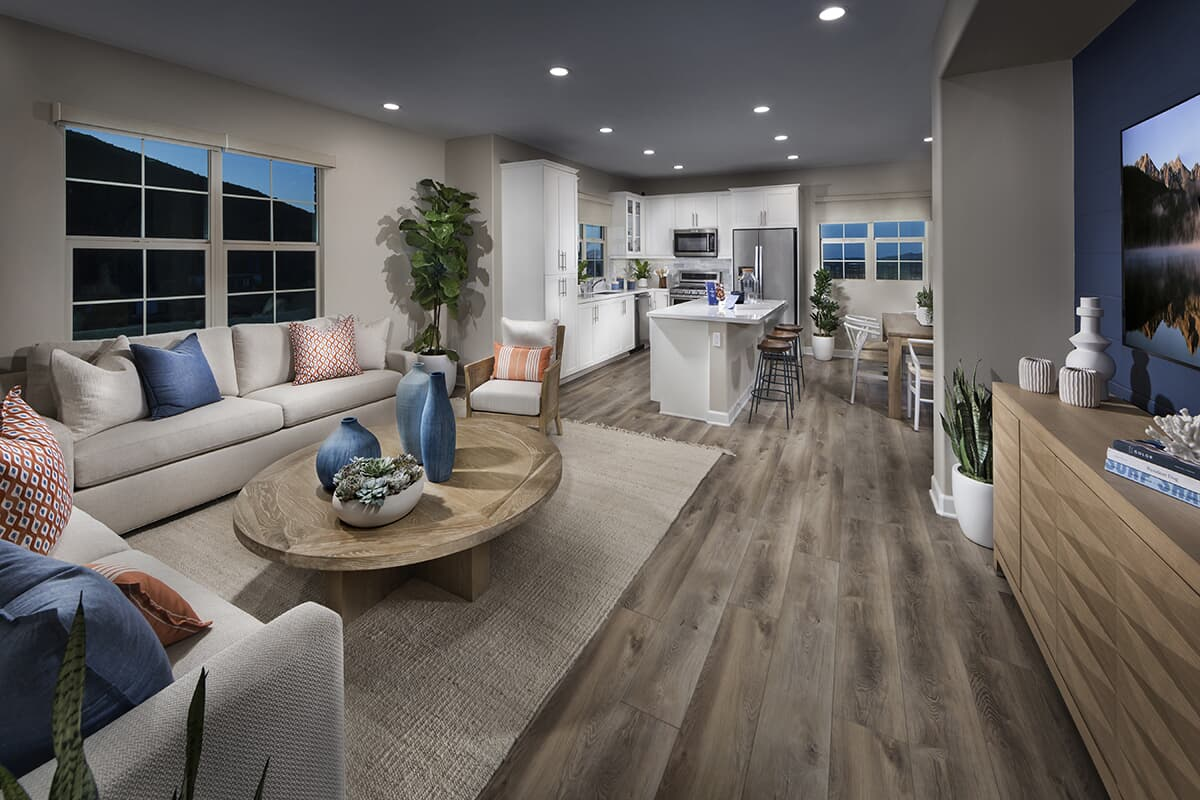 Residence 3 living room to kitchen Latitude at Rancho Tesoro in San Marcos CA Brookfield Residential