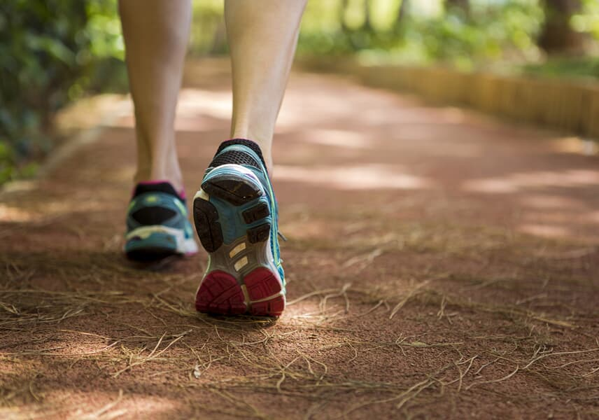 Close up of the shoes of a runner on a trail seen from behind