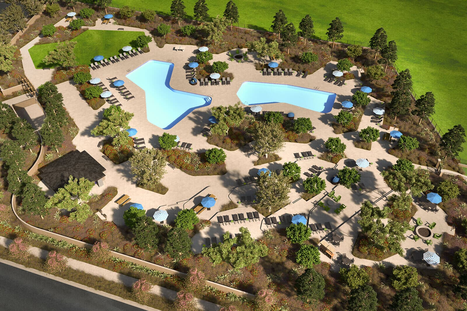 The Oasis Overall Rendering | Agave at Spencers Crossing in Riverside, CA | Brookfield Residential