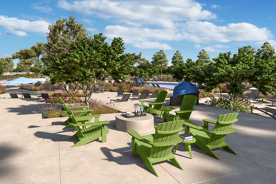 The Oasis Seating Rendering | Agave at Spencers Crossing in Riverside, CA | Brookfield Residential