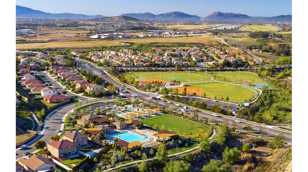 Aerial view of Spencers Crossing in Riverside, CA | Brookfield Residential