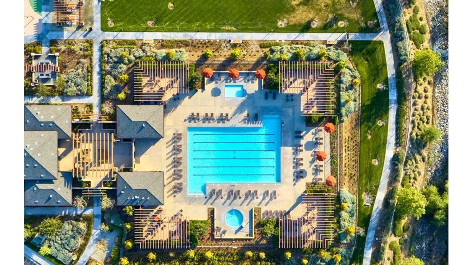 Aerial view of clubhouse at Spencers Crossing in Riverside, CA | Brookfield Residential