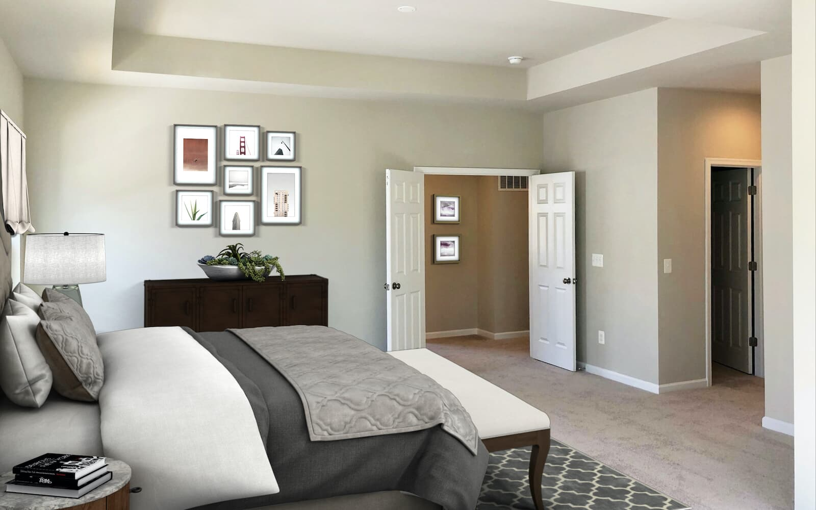 The owner s bedroom of the Manchester II by Brookfield Residential at Potomac Shores